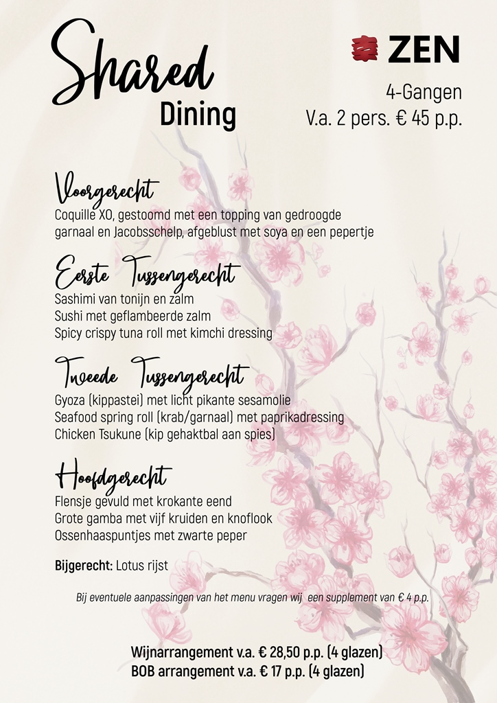 Shared dining 4 gangen menu